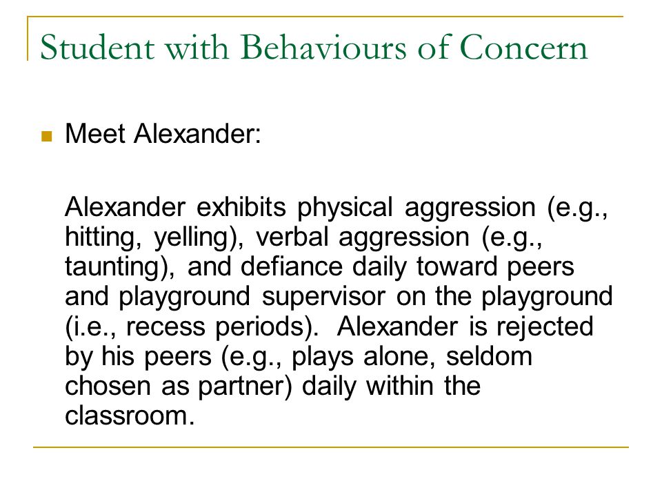 Student with Behaviours of Concern