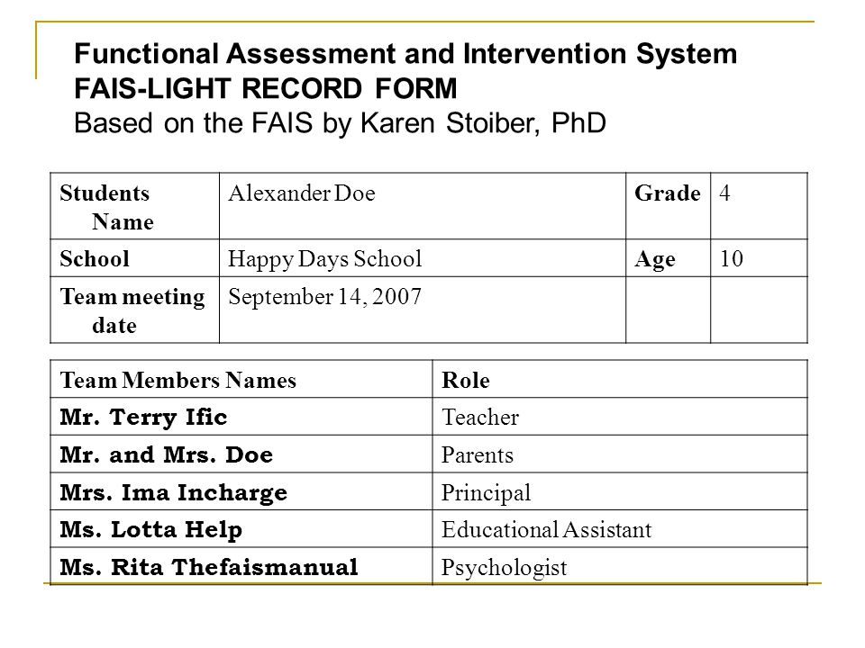 Functional Assessment and Intervention System FAIS-LIGHT RECORD FORM