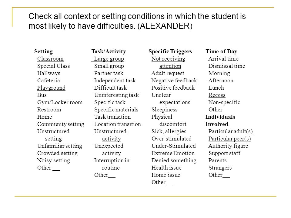 Check all context or setting conditions in which the student is most likely to have difficulties. (ALEXANDER)