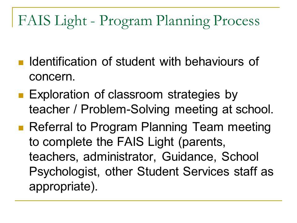 FAIS Light - Program Planning Process