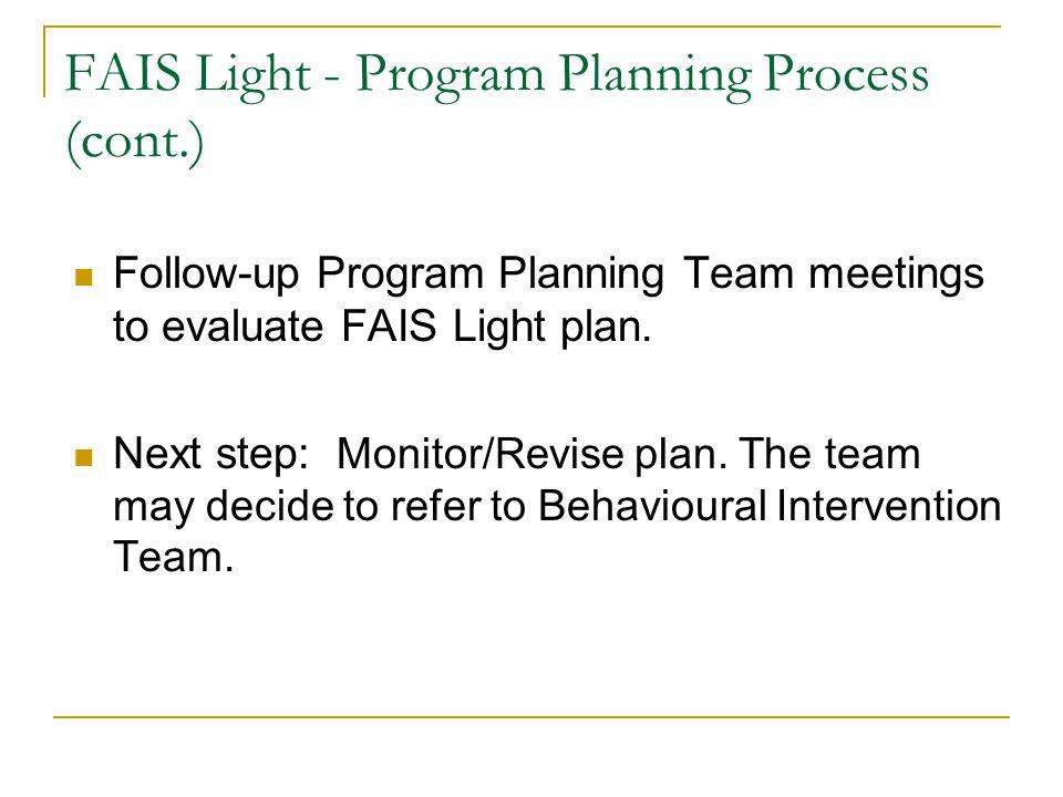 FAIS Light - Program Planning Process (cont.)