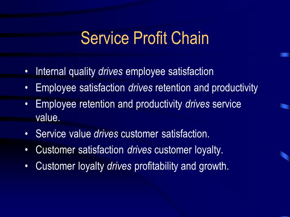 Service Profit Chain Internal quality drives employee satisfaction