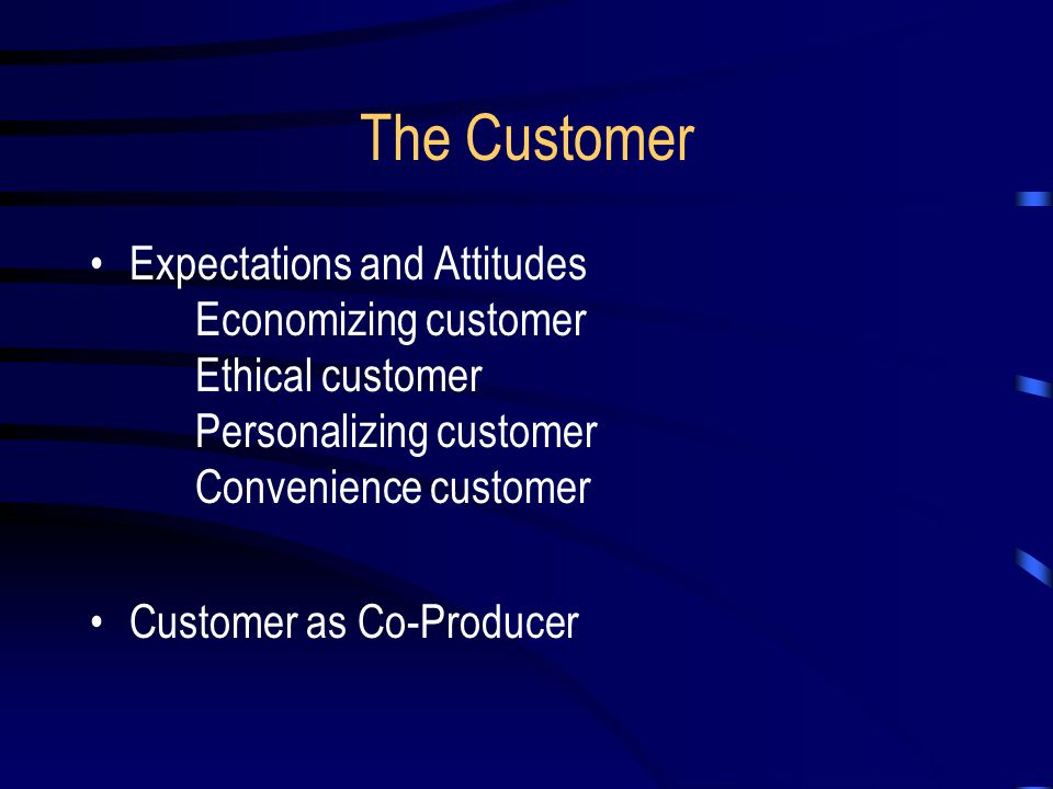 The Customer Expectations and Attitudes Economizing customer Ethical customer Personalizing customer Convenience customer.