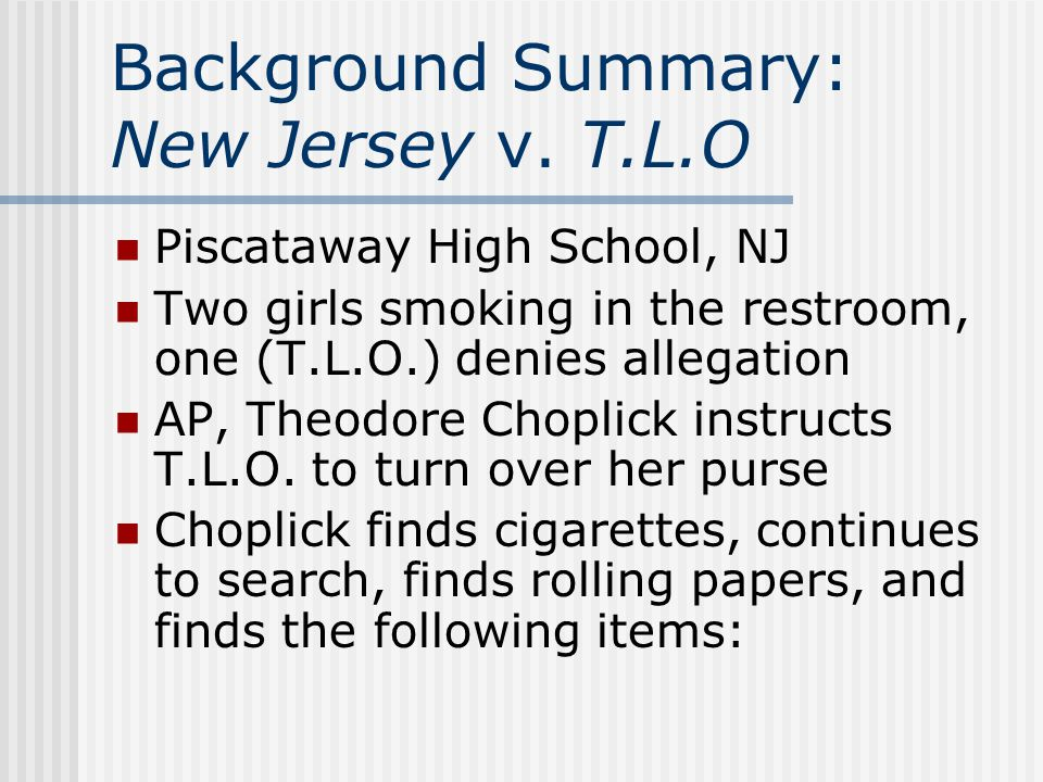 Background Summary: New Jersey v. T.L.O