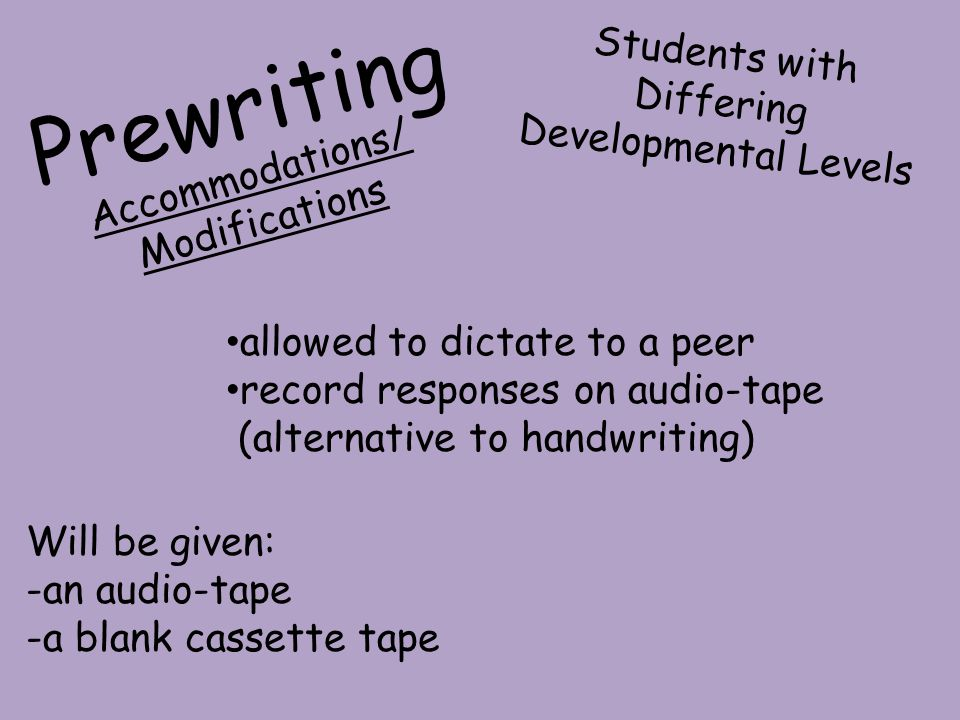 Prewriting Students with Differing Developmental Levels