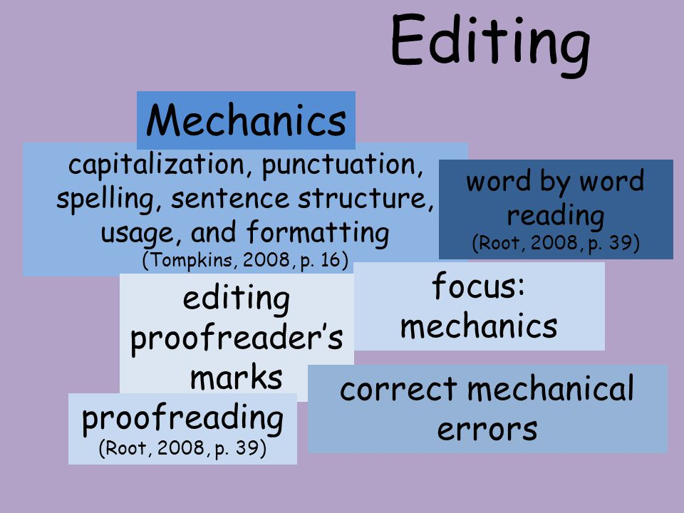 Editing Mechanics focus: mechanics editing proofreader's marks