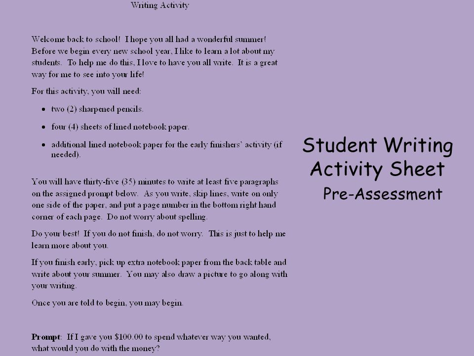 Student Writing Activity Sheet