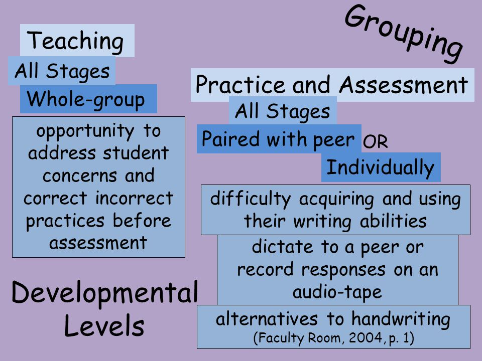 Grouping Developmental Levels Teaching Practice and Assessment