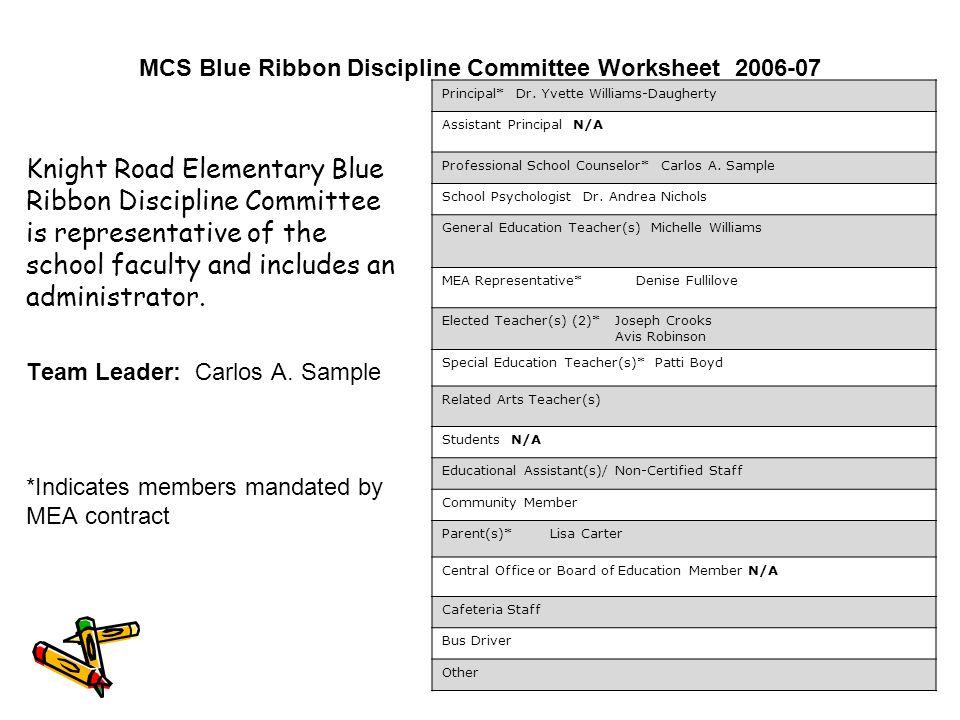 MCS Blue Ribbon Discipline Committee Worksheet 2006-07