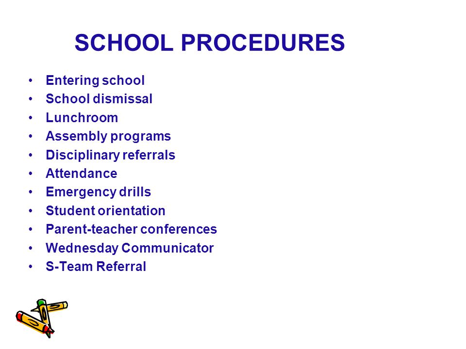SCHOOL PROCEDURES Entering school School dismissal Lunchroom