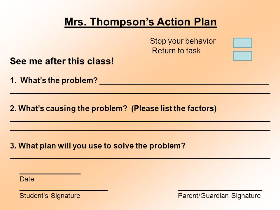 Mrs. Thompson's Action Plan