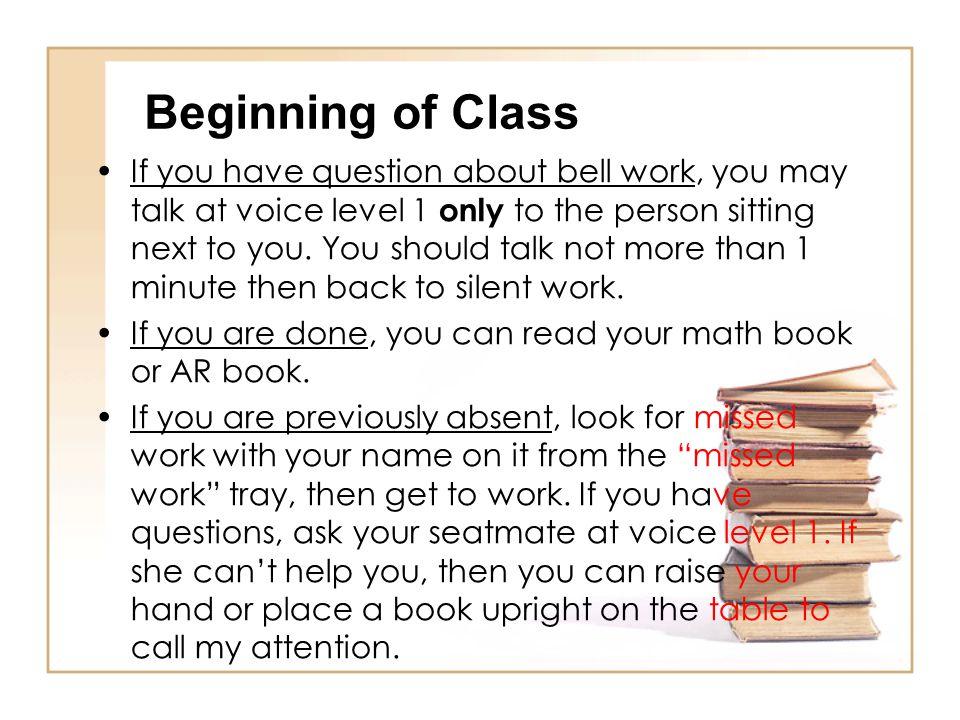 Beginning of Class