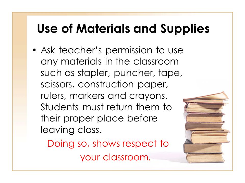 Use of Materials and Supplies