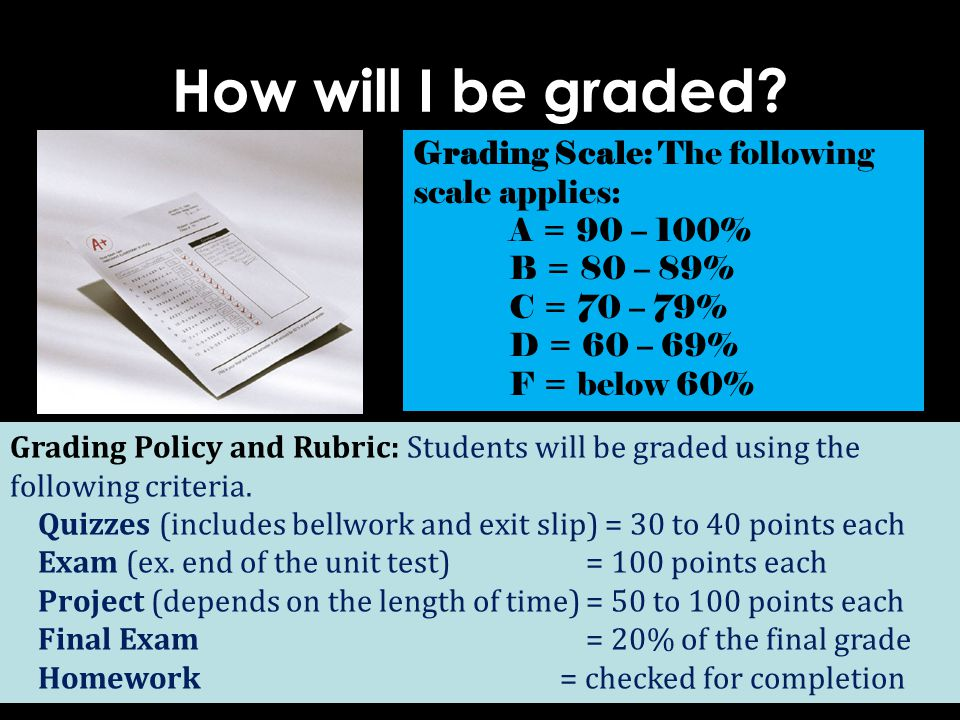 How will I be graded Grading Scale: The following scale applies: