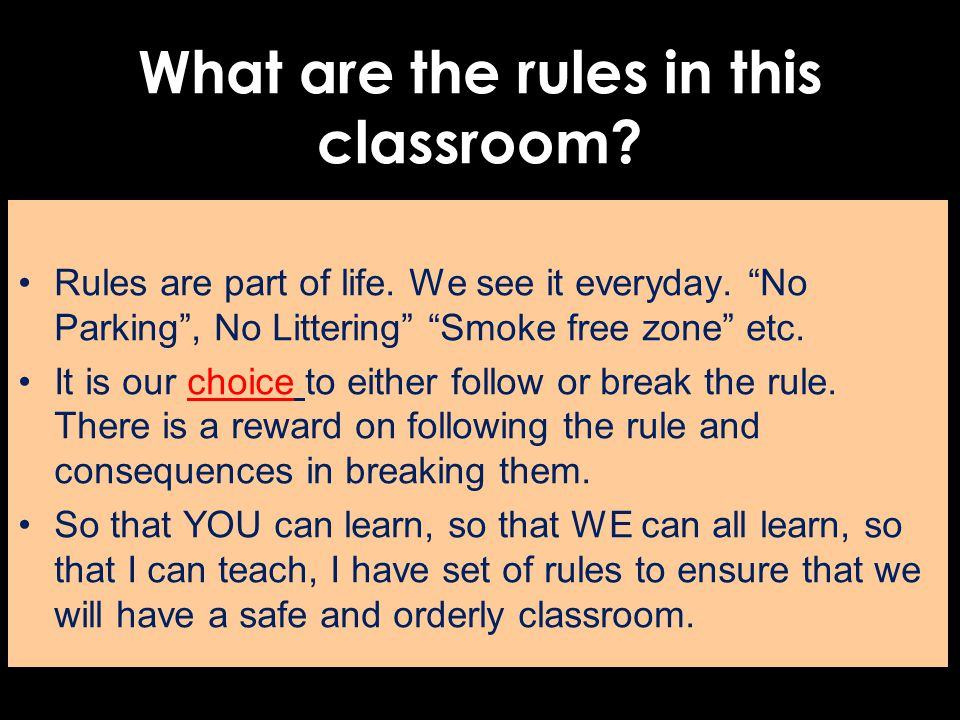 What are the rules in this classroom