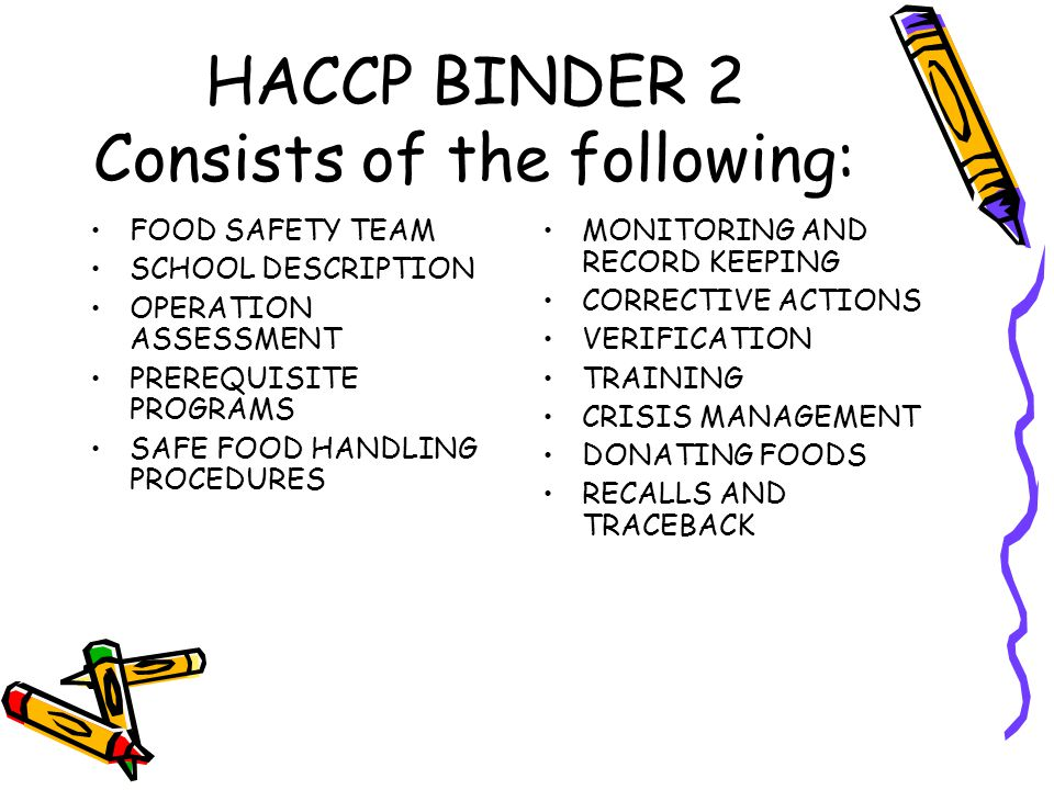 HACCP BINDER 2 Consists of the following: