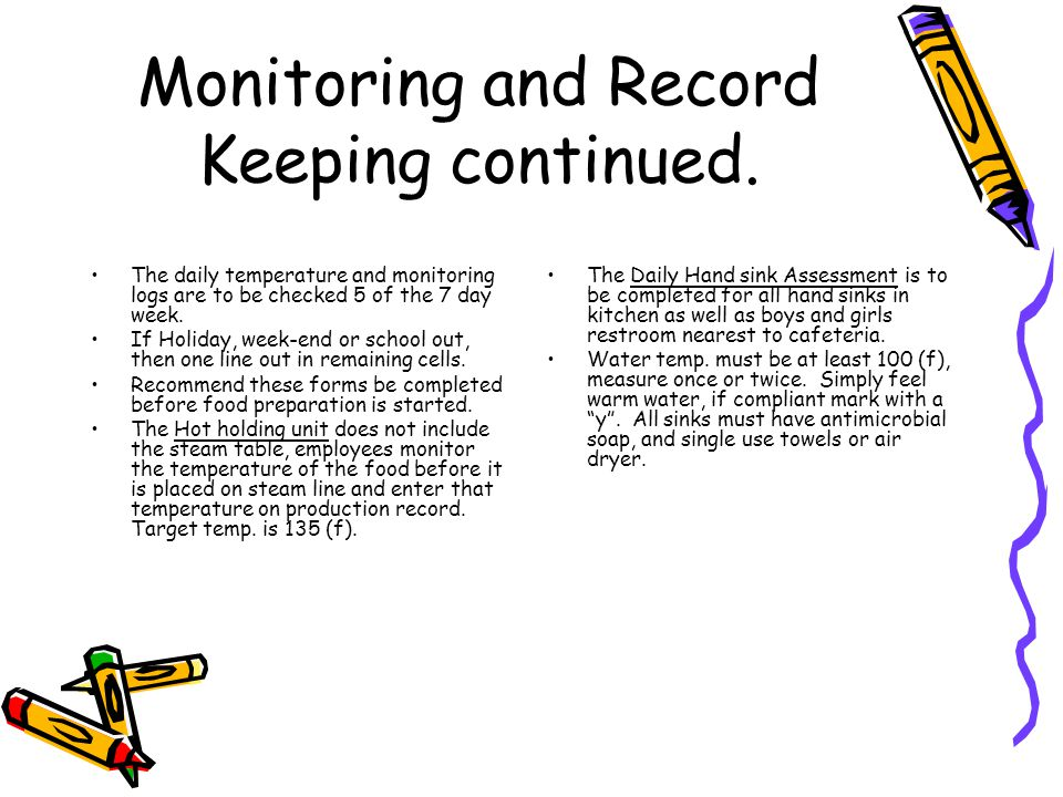 Monitoring and Record Keeping continued.
