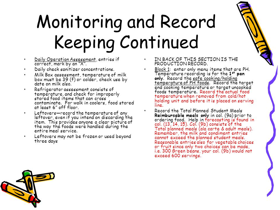 Monitoring and Record Keeping Continued