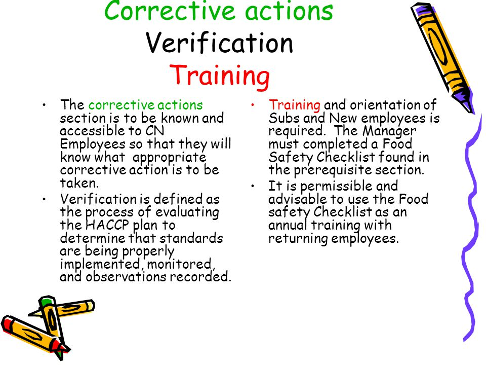 Corrective actions Verification Training