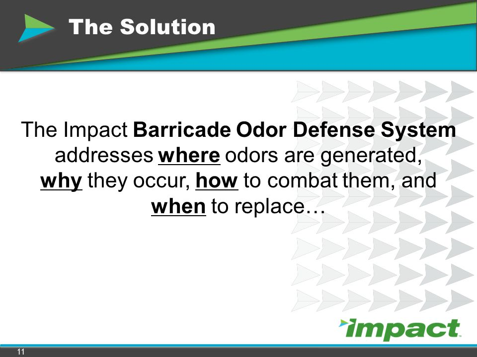 The Solution The Impact Barricade Odor Defense System addresses where odors are generated, why they occur, how to combat them, and when to replace…
