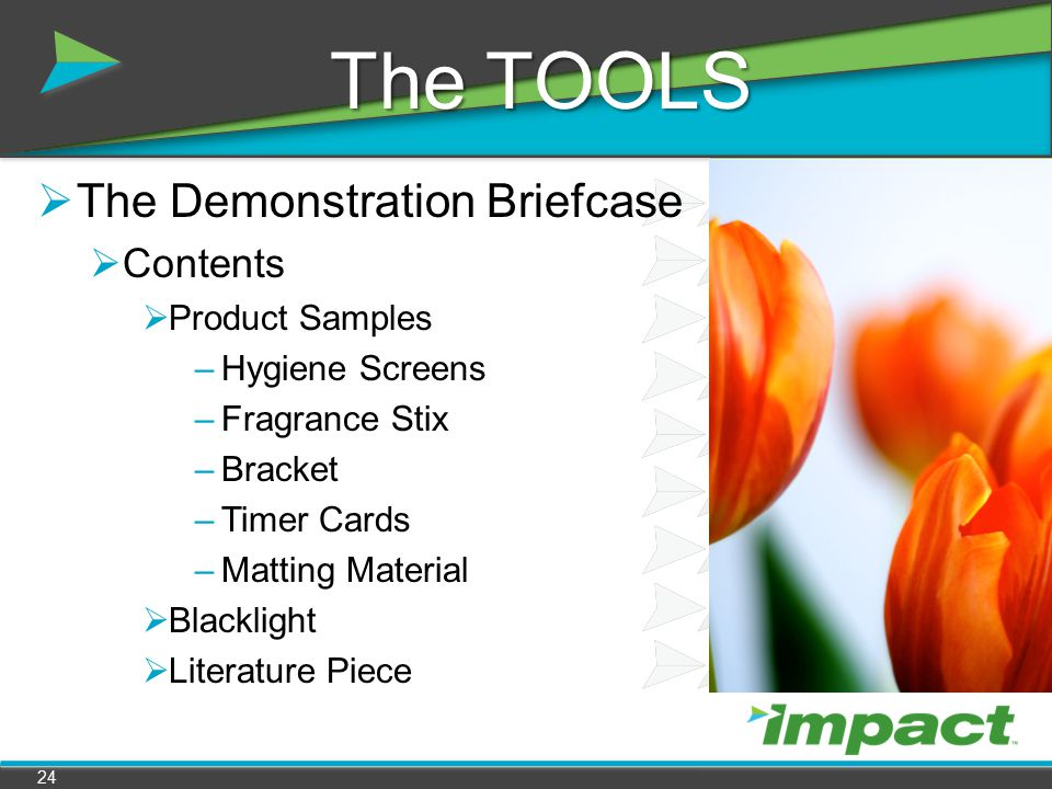 The TOOLS The Demonstration Briefcase Contents Product Samples