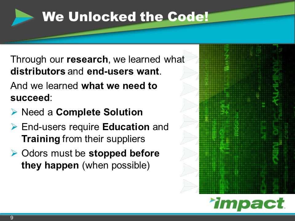 We Unlocked the Code! Through our research, we learned what distributors and end-users want. And we learned what we need to succeed: