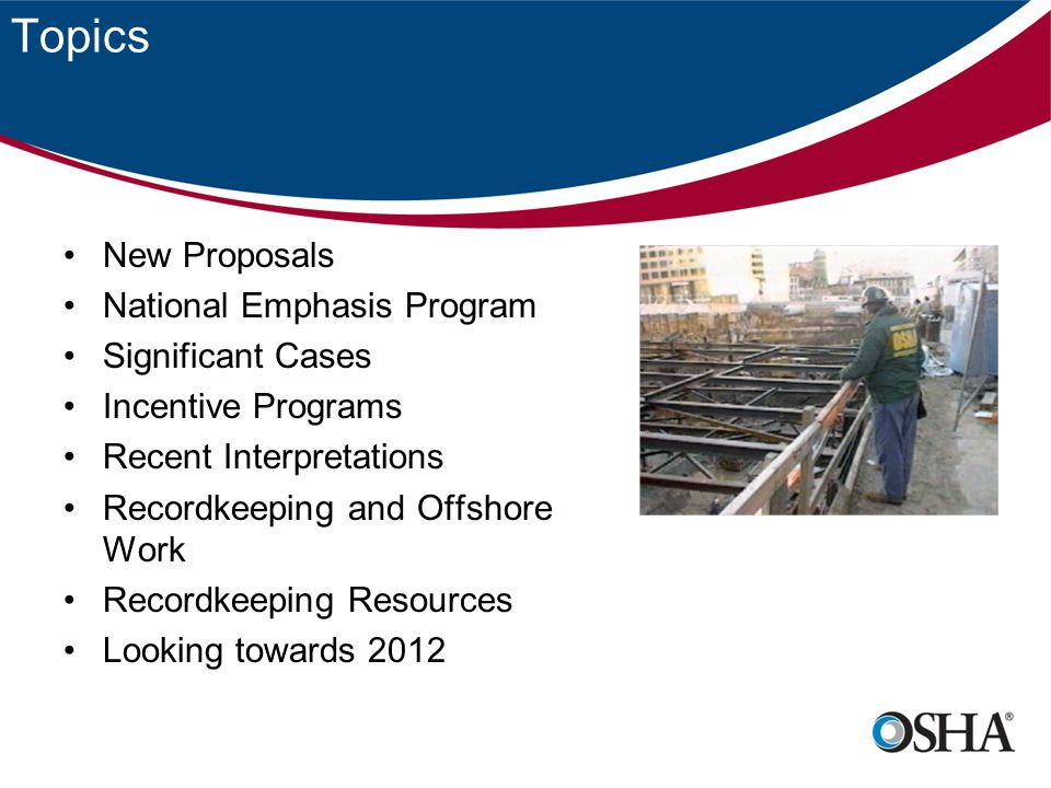 Topics New Proposals National Emphasis Program Significant Cases