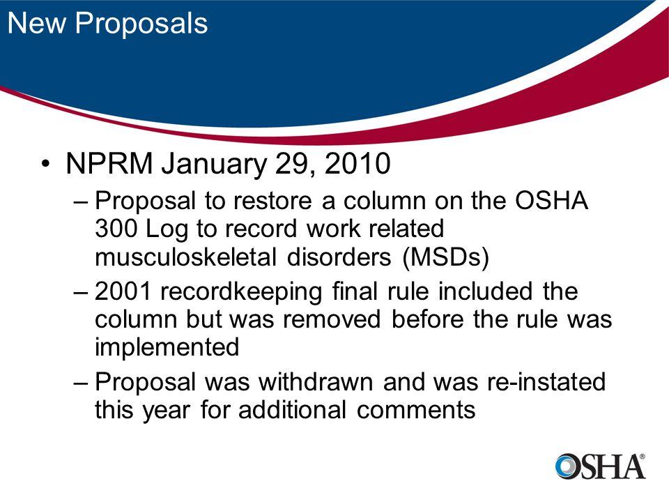 New Proposals NPRM January 29, 2010
