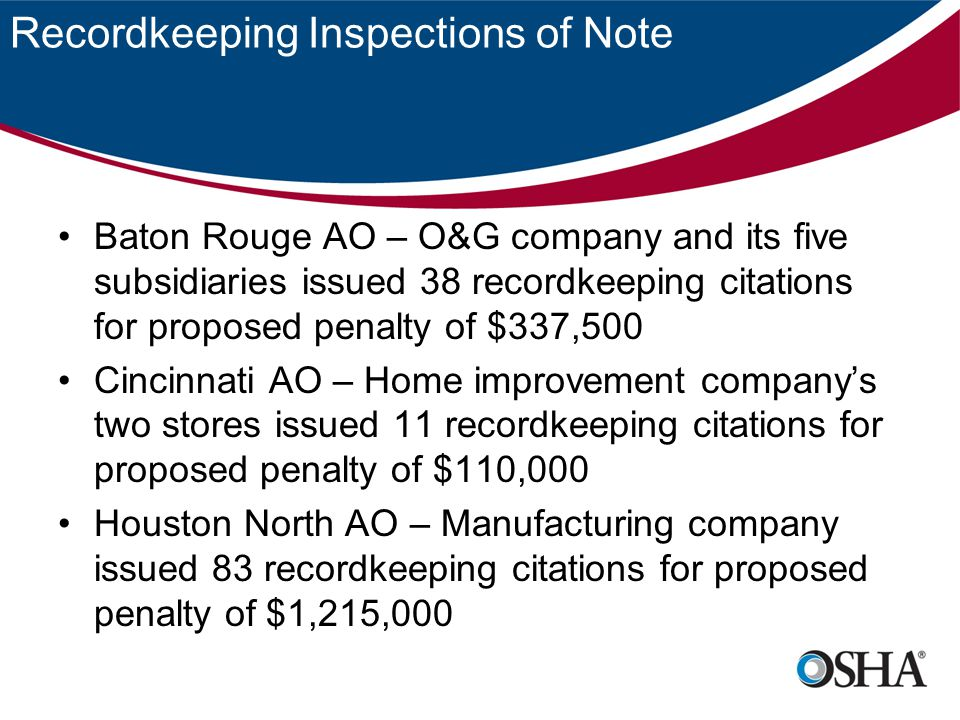 Recordkeeping Inspections of Note