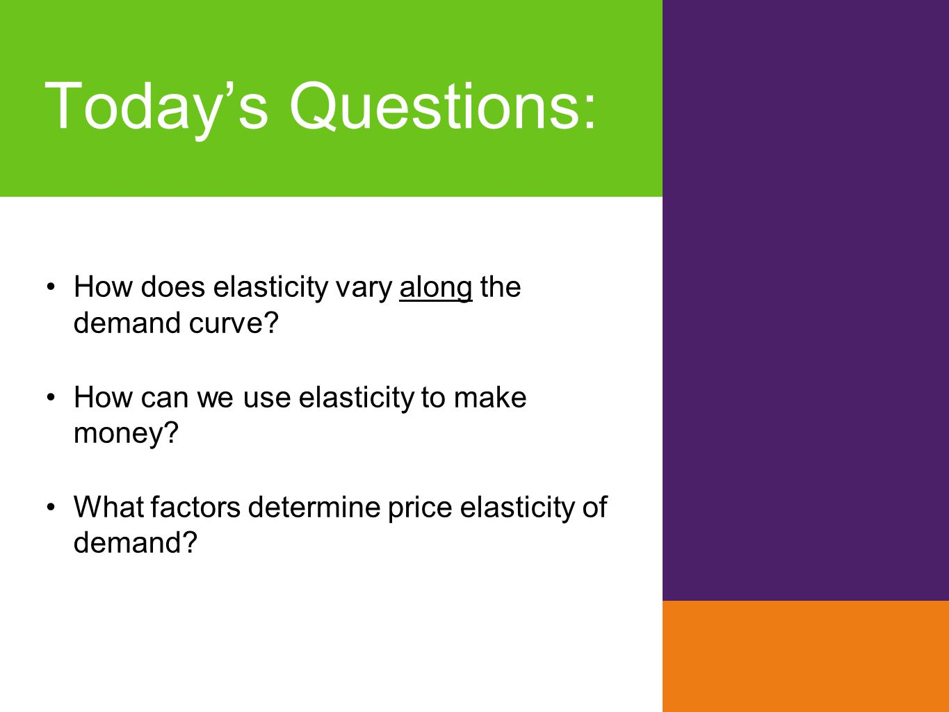 Today's Questions: How does elasticity vary along the demand curve