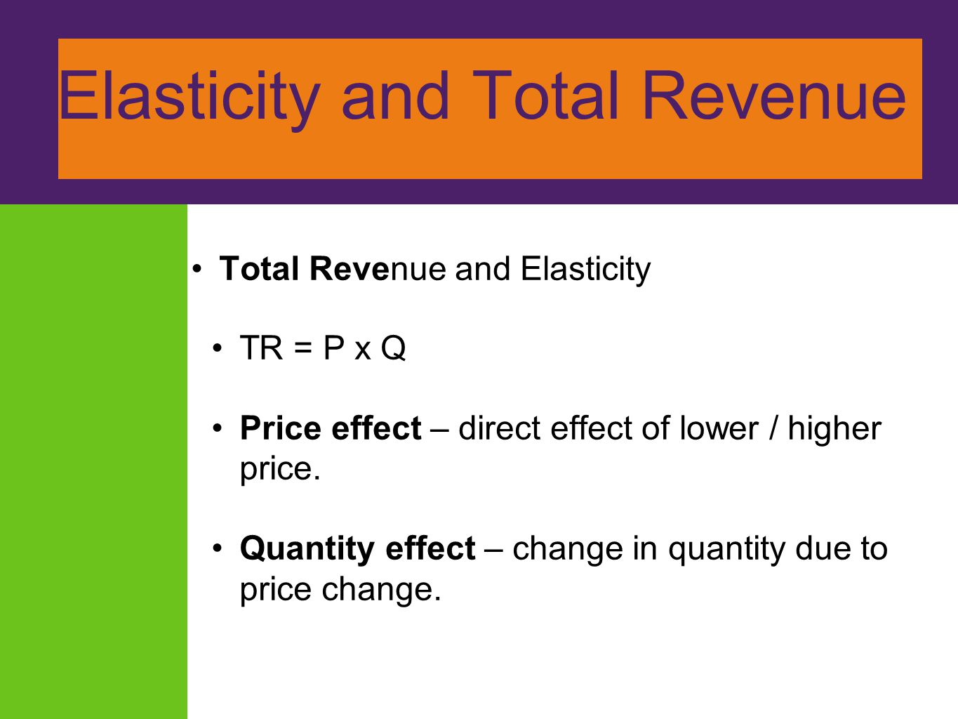 Elasticity and Total Revenue