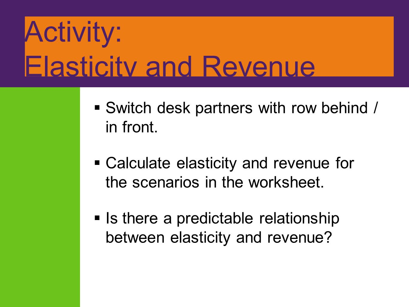 Activity: Elasticity and Revenue