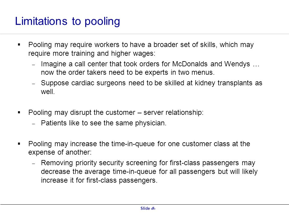 Limitations to pooling
