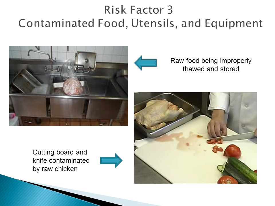 Risk Factor 3 Contaminated Food, Utensils, and Equipment