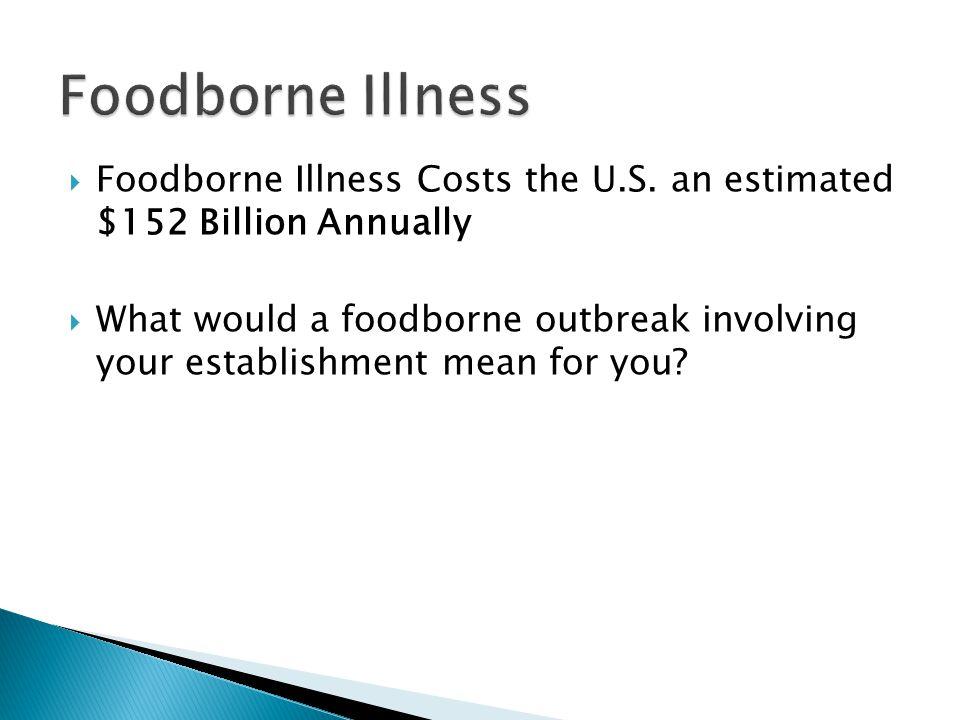 Foodborne Illness Foodborne Illness Costs the U.S. an estimated $152 Billion Annually.