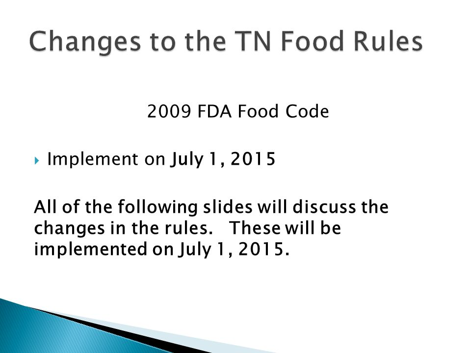 Changes to the TN Food Rules