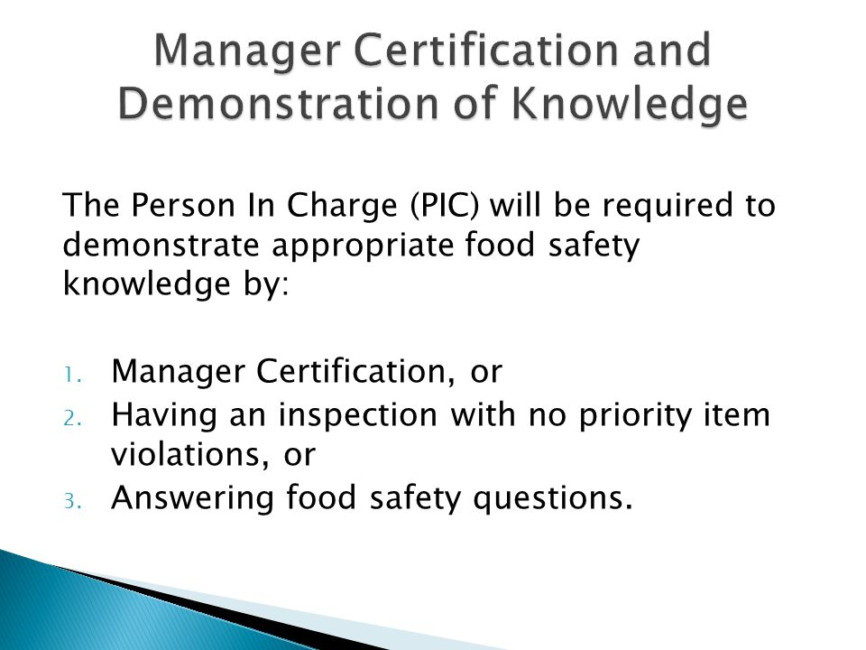 Manager Certification and Demonstration of Knowledge