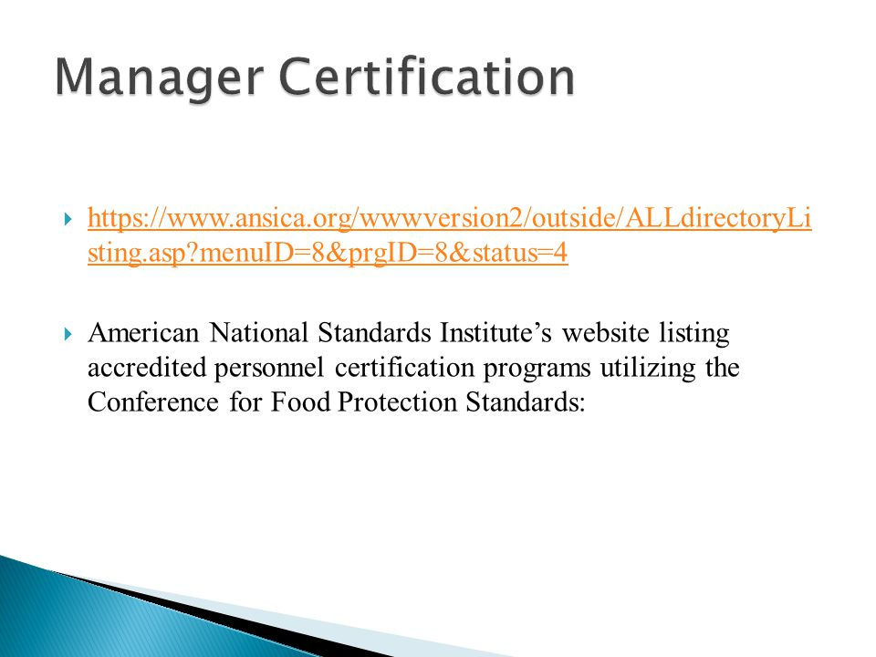Manager Certification
