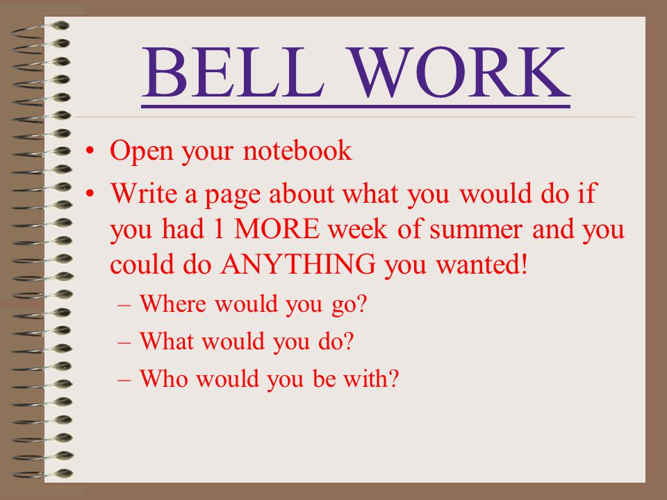 BELL WORK Open your notebook
