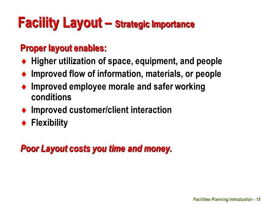 Facility Layout – Strategic Importance