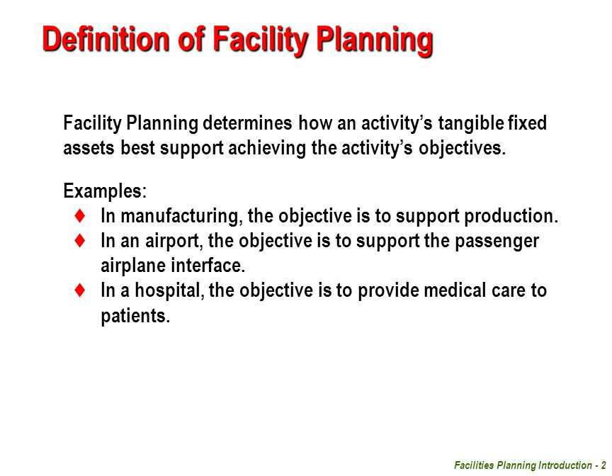 Definition Of Facility Planning