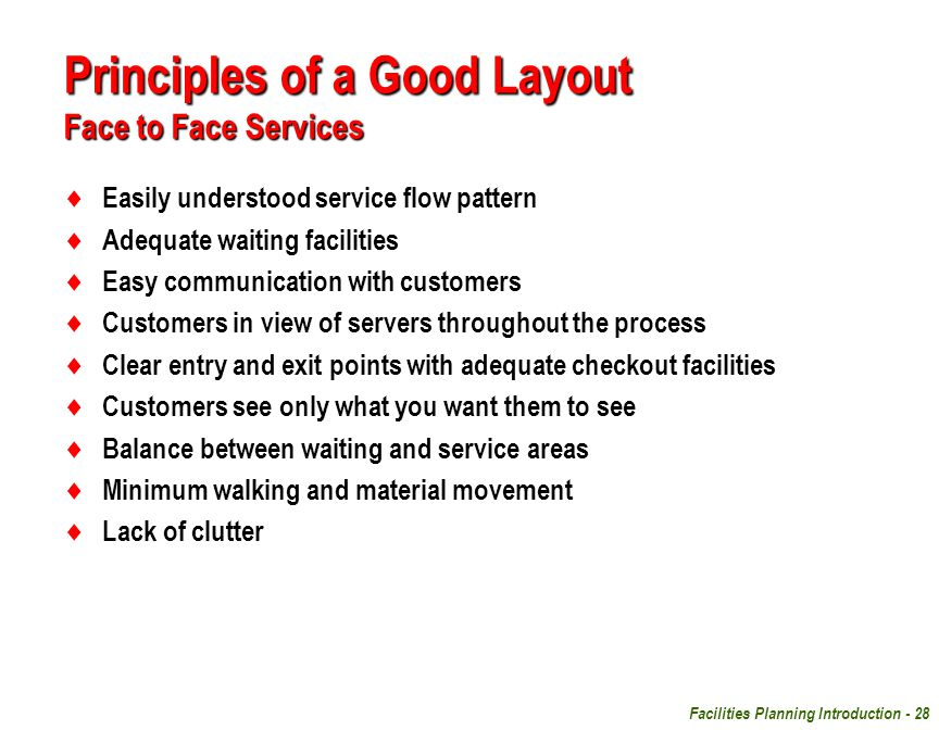 Principles of a Good Layout Face to Face Services