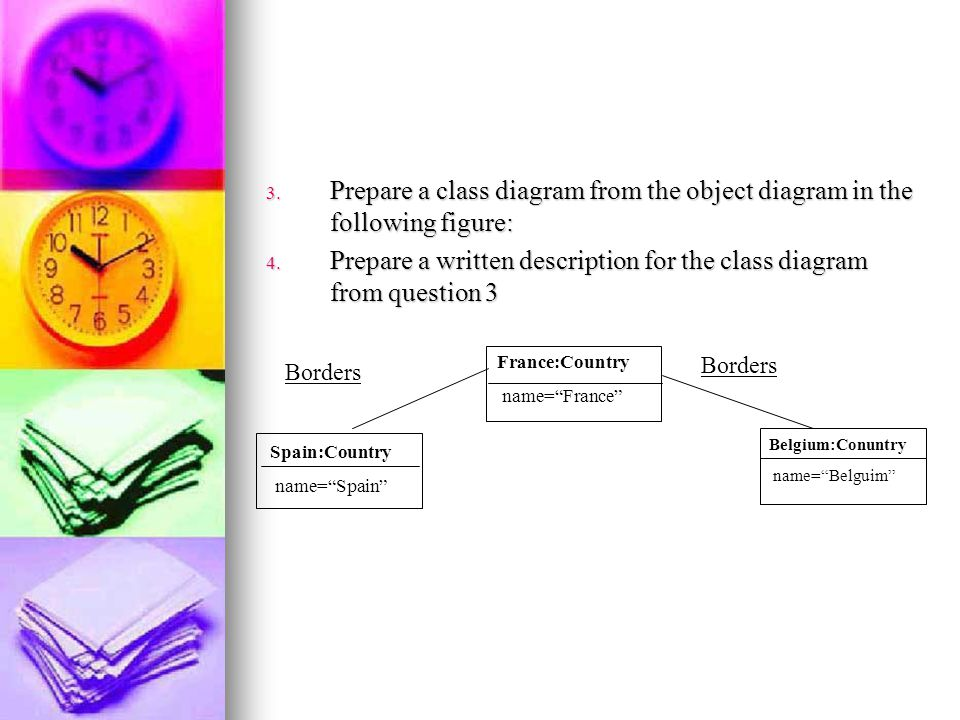 Prepare a written description for the class diagram from question 3