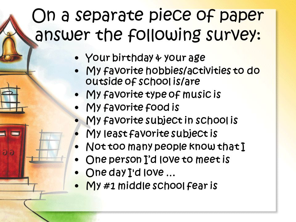 On a separate piece of paper answer the following survey: