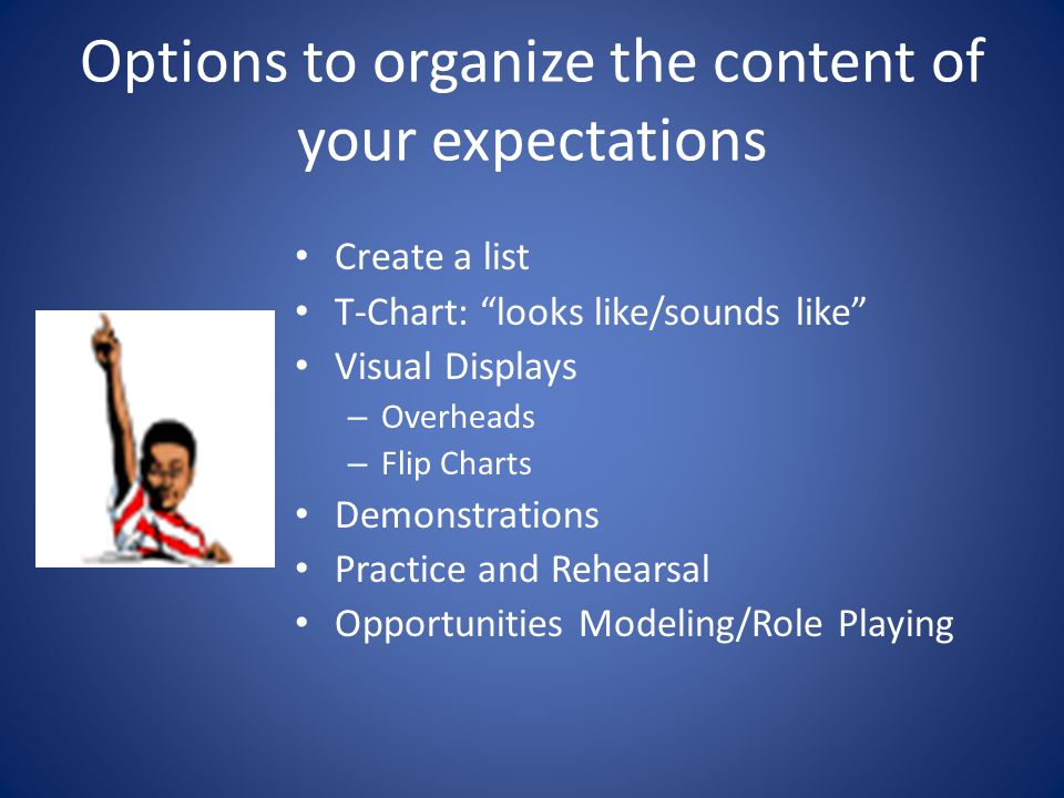 Options to organize the content of your expectations