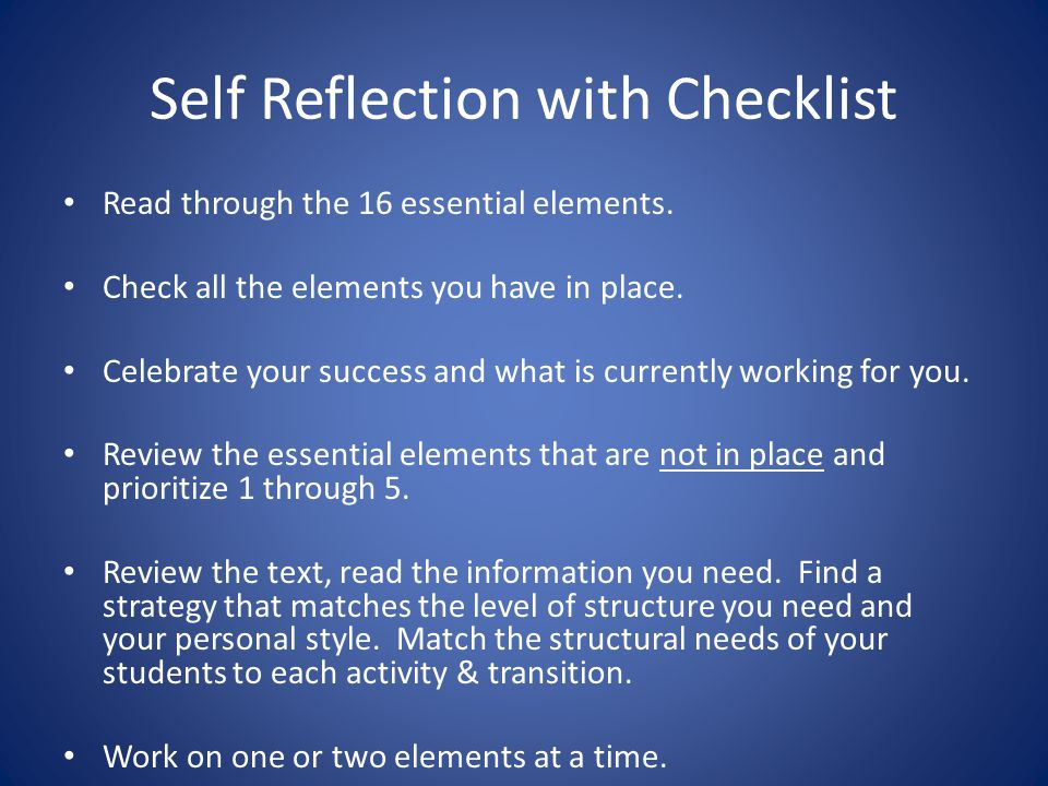Self Reflection with Checklist