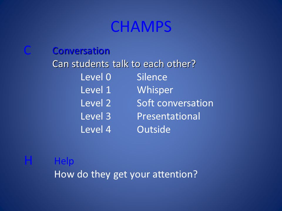 CHAMPS C H Conversation Can students talk to each other