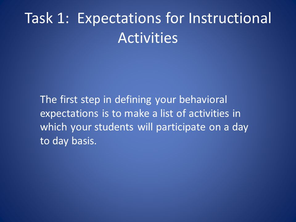 Task 1: Expectations for Instructional Activities
