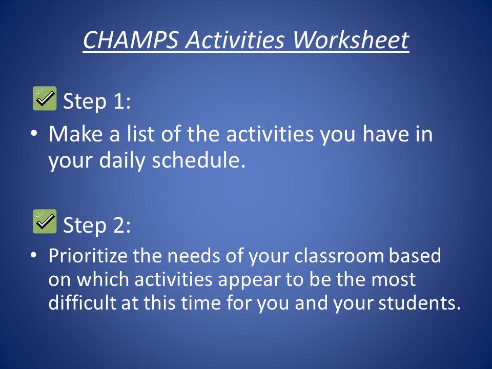 CHAMPS Activities Worksheet