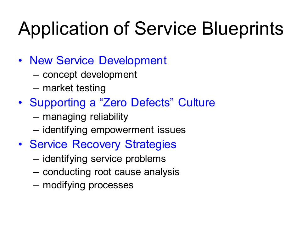 Application of Service Blueprints